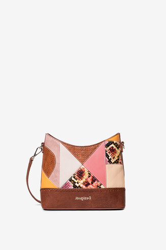 Geometric puzzle patch bag