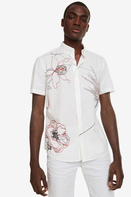 White Shirt with Embroidery Ewan