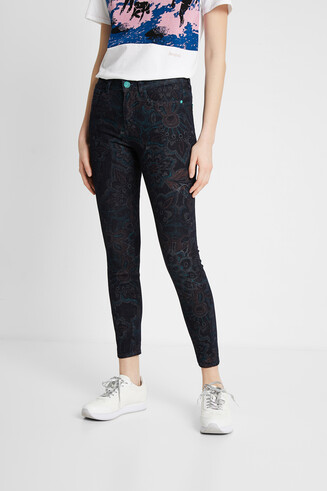 Skinny floral jean trousers