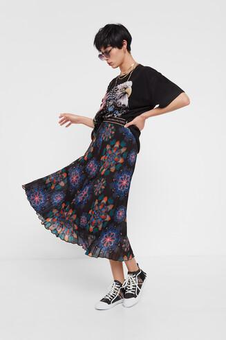 Pleated midi-skirt mandalas