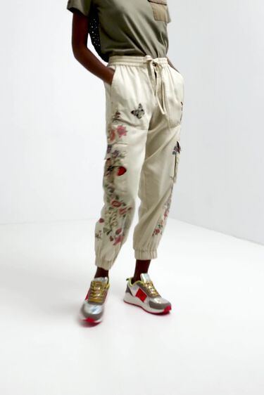 Floral cargo jogger trousers | Desigual