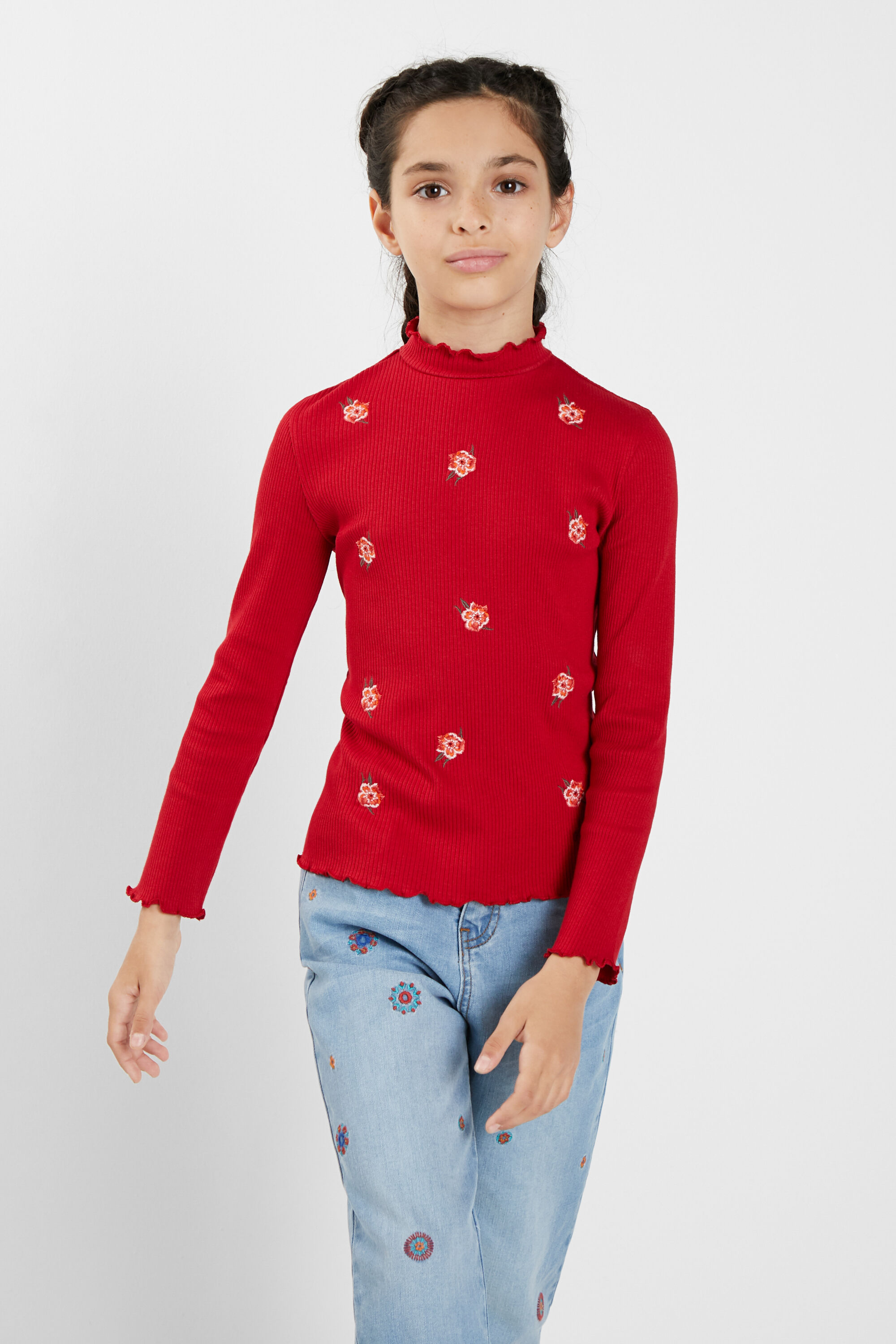 Ribbed T-shirt flowers - RED - 5/6