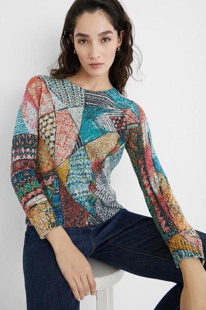 Gebreide trui in arty-stijl