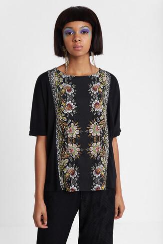 T-shirt en coton et modal à bande florale Designed by M. Christian Lacroix