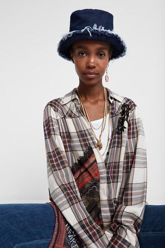 Asymmetric tartan shirt