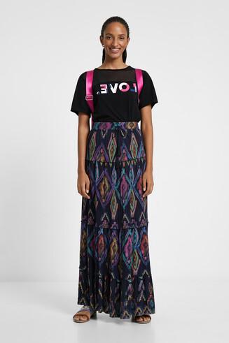 Lange milieuvriendelijke rok met geometrische print