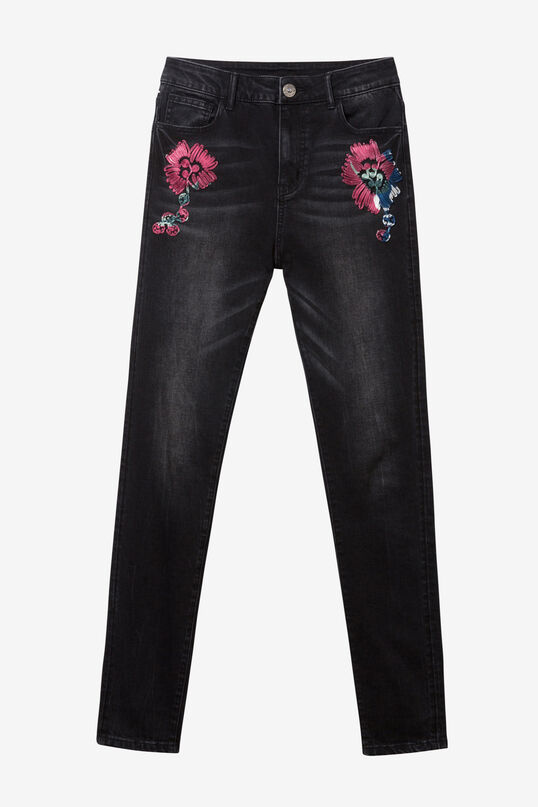 Embroidered Black Jeans | Desigual