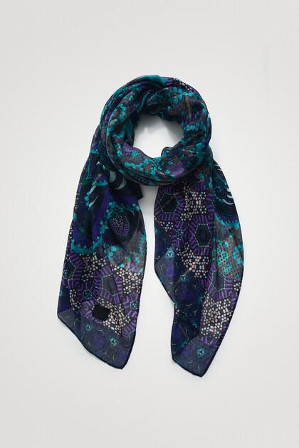 Rectangular Lurex print foulard