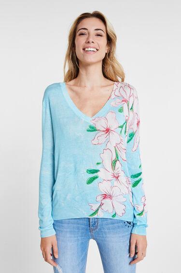 Gebreide trui met bloemenprint | Desigual