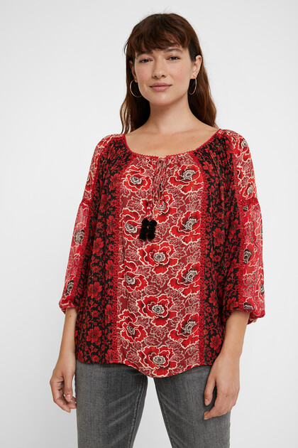 Loose boat neck blouse flowers