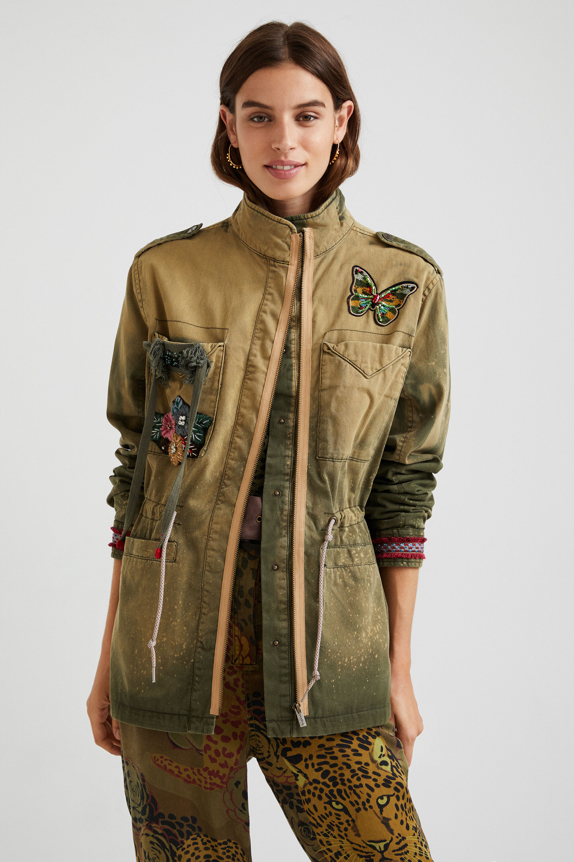 Military parka embroidered butterfly - GREEN - M