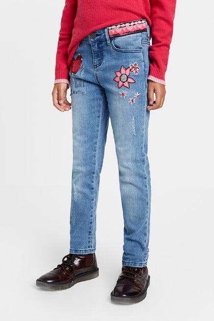 Pantalon slim jean paillettes