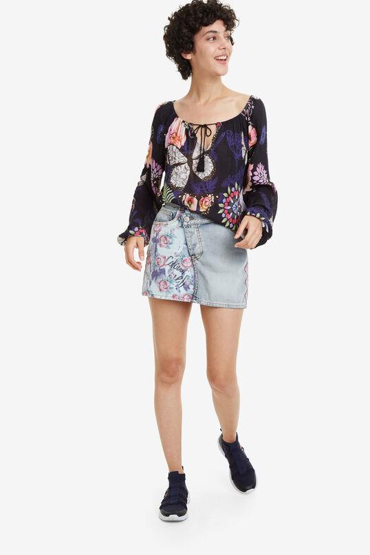 Denim Miniskirt Roses   Desigual