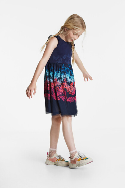 Multicolour tulle butterflies dress
