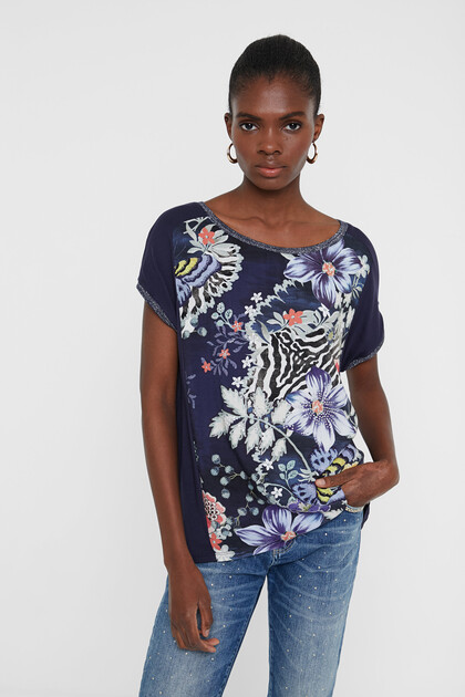 Short sailor floral and animal T-shirt