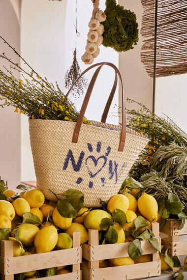 Printed basket tote bag