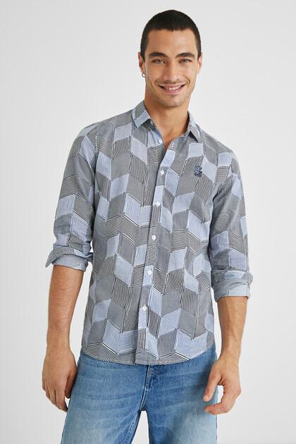 Camicia rombi righe 100% cotone