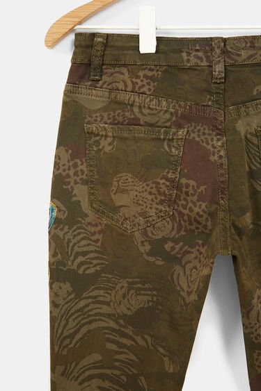 Straight embroidered print trousers | Desigual