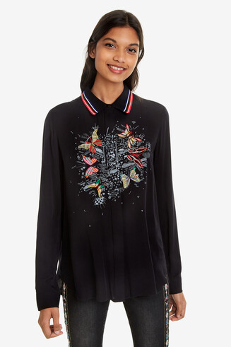 Black Butterfly Print Shirt Dinia