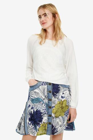 Rohweißer Pullover mit Print Rodas