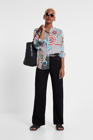 Mandarin Collar Print Shirt Aisha