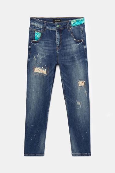 Spodnie dżinsowe o kroju boyfriend z patchworkowym wzorem | Desigual