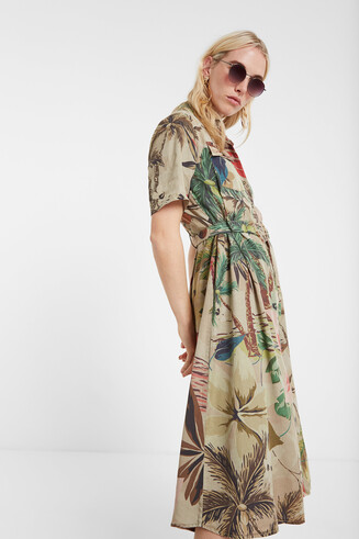 Floral camouflage shirt dress