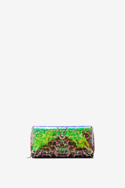 Kaleidoscopic coin purse with flap