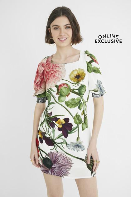 Slim short dress puffed sleeves