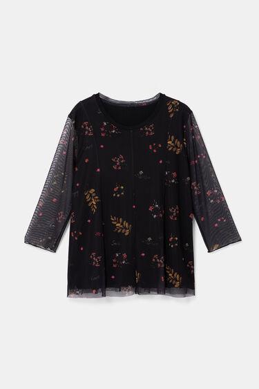 Kwiecista bluzka z tiulowymi rękawami | Desigual