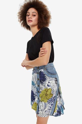 Denim and viscose skirt Navil