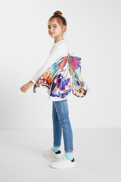 T-shirt met vlindercape