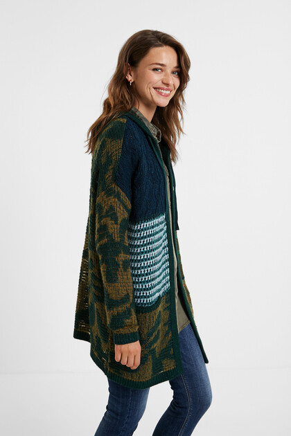 Hooded patch open jumper