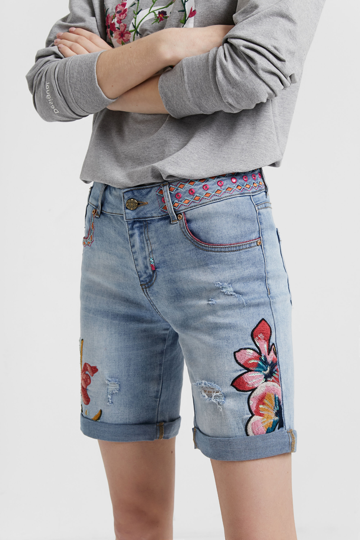 Floral denim shorts | Desigual.com