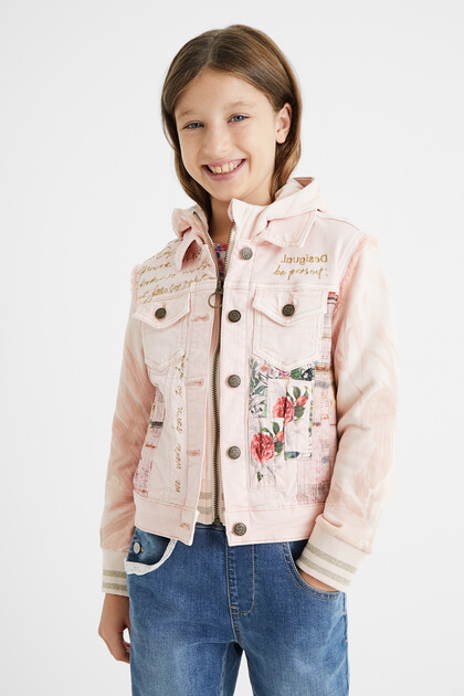 Bimaterial denim jacket with hood