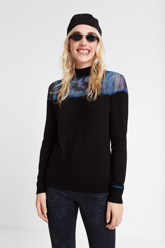 Viscose jumper Perkins neck