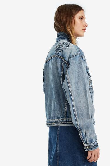 Oversize denim jacket with robots embroidery | Desigual