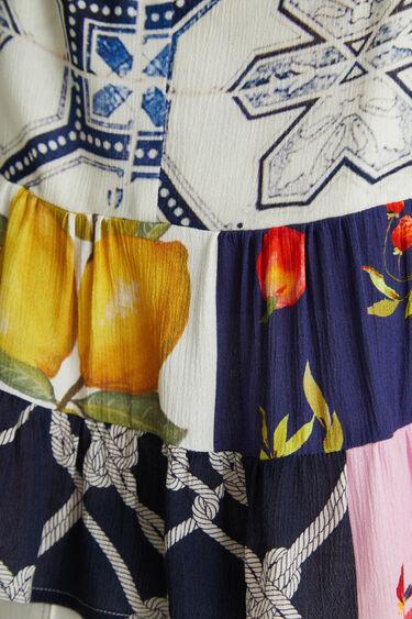Loose fit blouse van viscose met schouderbandjes | Desigual