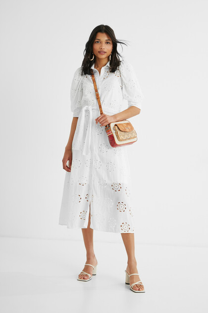 Embroidered Swiss midi-dress