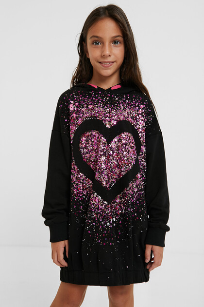 Sweat-shirt capuche loose sequins