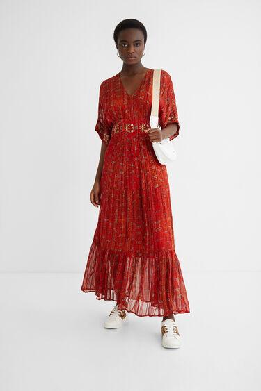 Langes Kleid Ethno-Style Lurex | Desigual