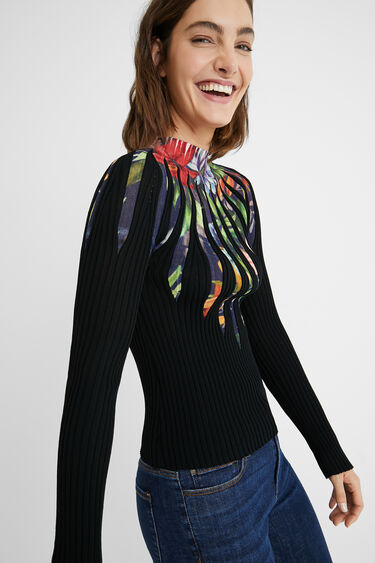 Slim fit rib knit jumper | Desigual