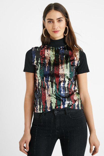 T-shirt slim sequins