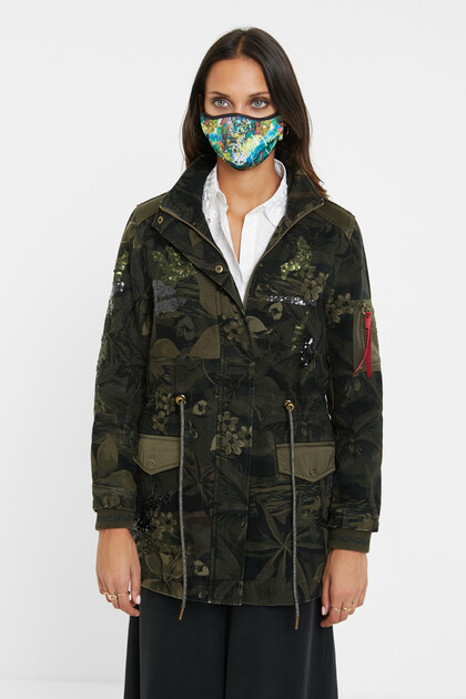 Military parka floral print