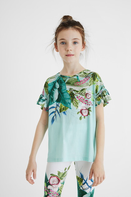 T-shirt flowers flounced sleeve