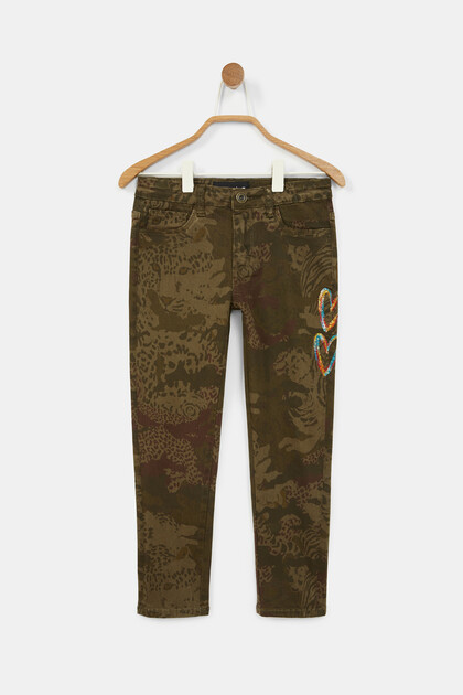 Straight embroidered print trousers