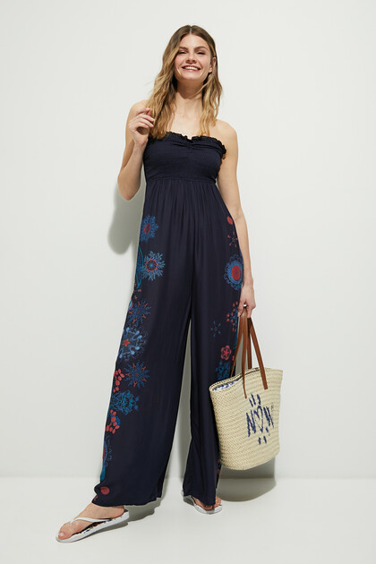 Long jumpsuit neckline honeycomb