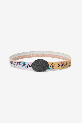 Floral reversible belt and messages