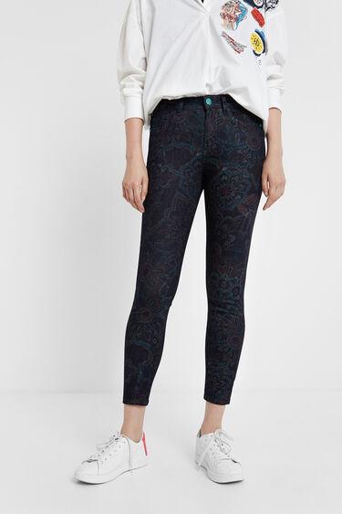 Skinny floral jean trousers | Desigual