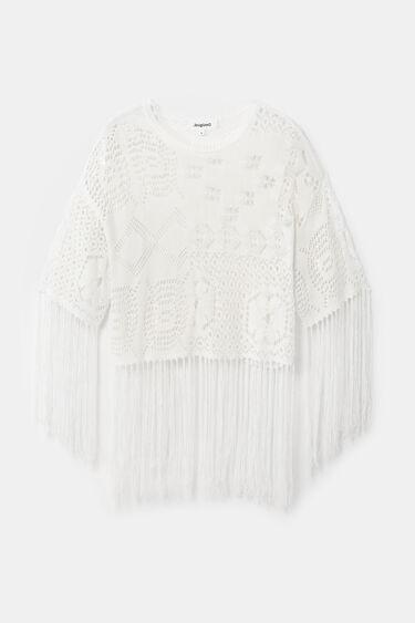 Pullover aus Ajour-Häkelstrick mit Fransen | Desigual